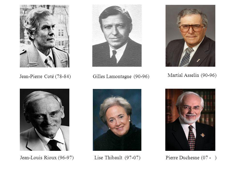 Lise Thibault (97-07)Pierre Duchesne (07 - )Jean-Louis Rioux (96-97) Martial Asselin (90-96) Gilles Lamontagne (90-96)Jean-Pierre Coté (78-84)