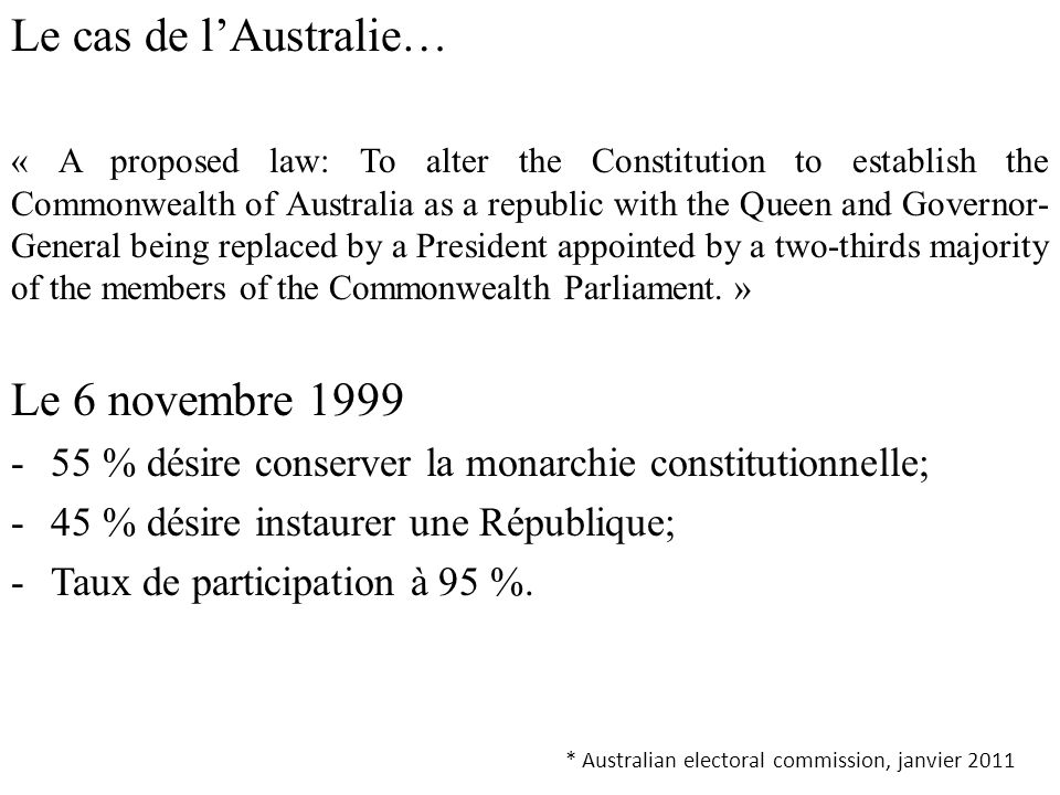 Le cas de l'Australie… « A proposed law: To alter the Constitution to establish the Commonwealth of Australia as a republic with the Queen and Governo
