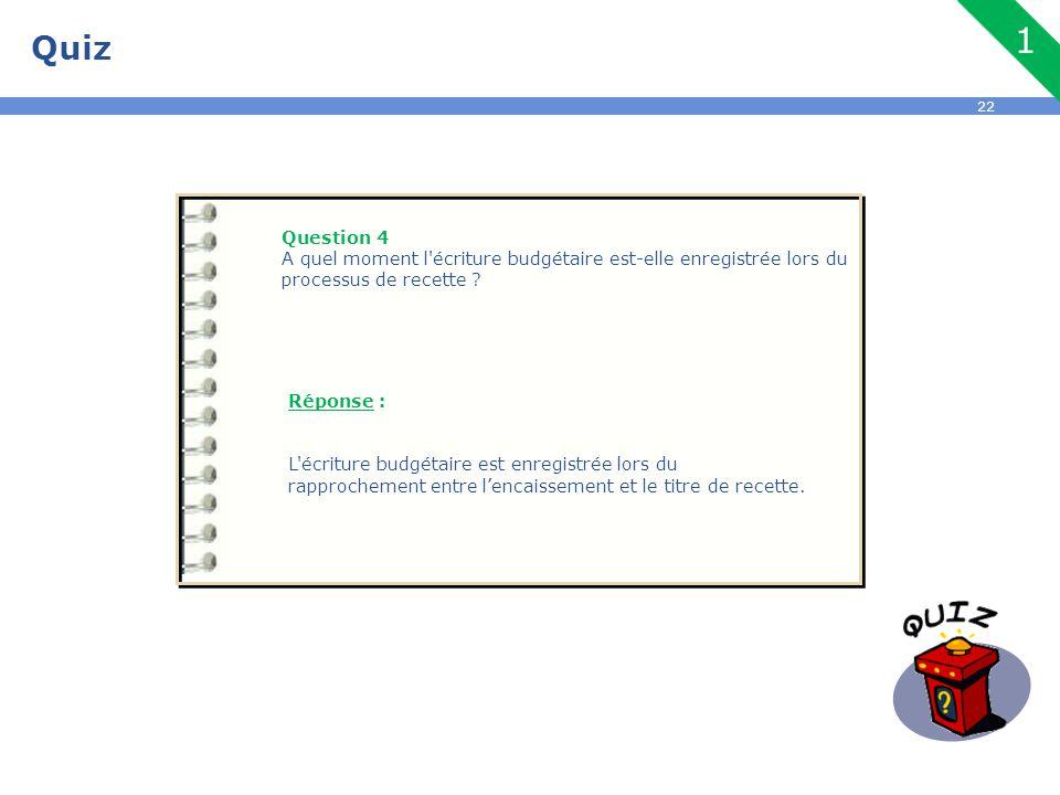 22 Quiz Question 4 A quel moment l'écriture budgétaire est-elle enregistrée lors du processus de recette ? Réponse : L'écriture budgétaire est enregis