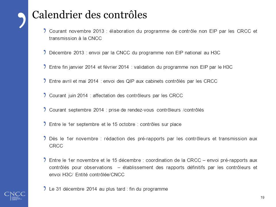 Calendrier des contrôles Courant novembre 2013 : élaboration du programme de contrôle non EIP par les CRCC et transmission à la CNCC Décembre 2013 : e