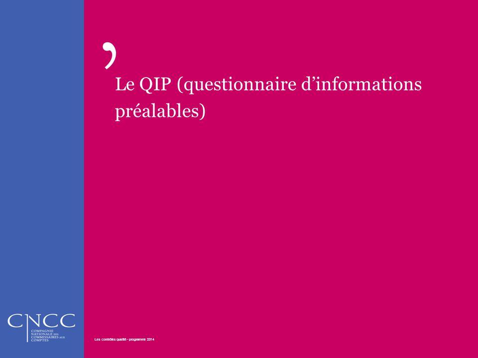 Le QIP (questionnaire d'informations préalables) Les contrôles qualité - programme 2014 21 Les contrôles qualité - programme 2014