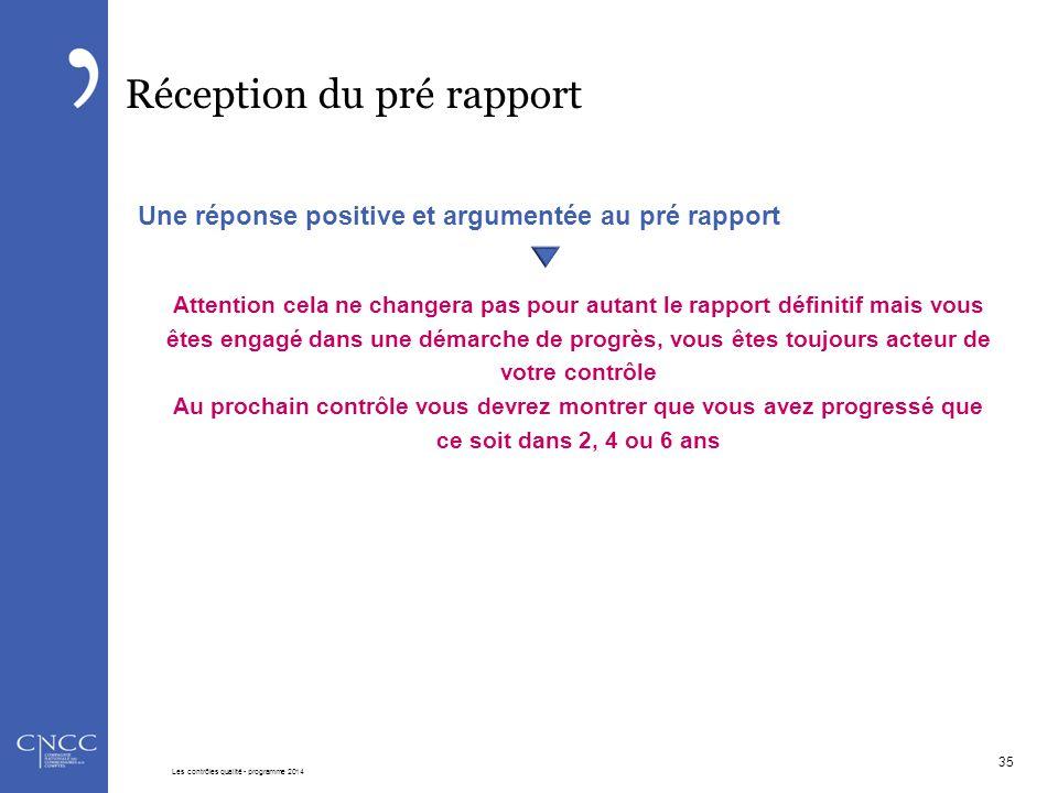 Réception du pré rapport Une réponse positive et argumentée au pré rapport Attention cela ne changera pas pour autant le rapport définitif mais vous ê