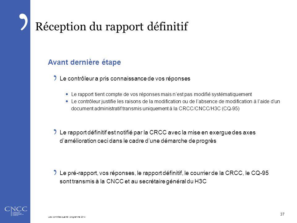 Réception du rapport définitif Avant dernière étape Le contrôleur a pris connaissance de vos réponses  Le rapport tient compte de vos réponses mais n