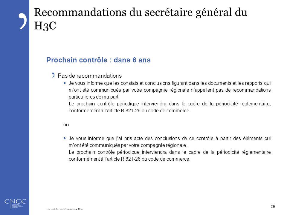 Recommandations du secrétaire général du H3C Prochain contrôle : dans 6 ans Pas de recommandations  Je vous informe que les constats et conclusions f