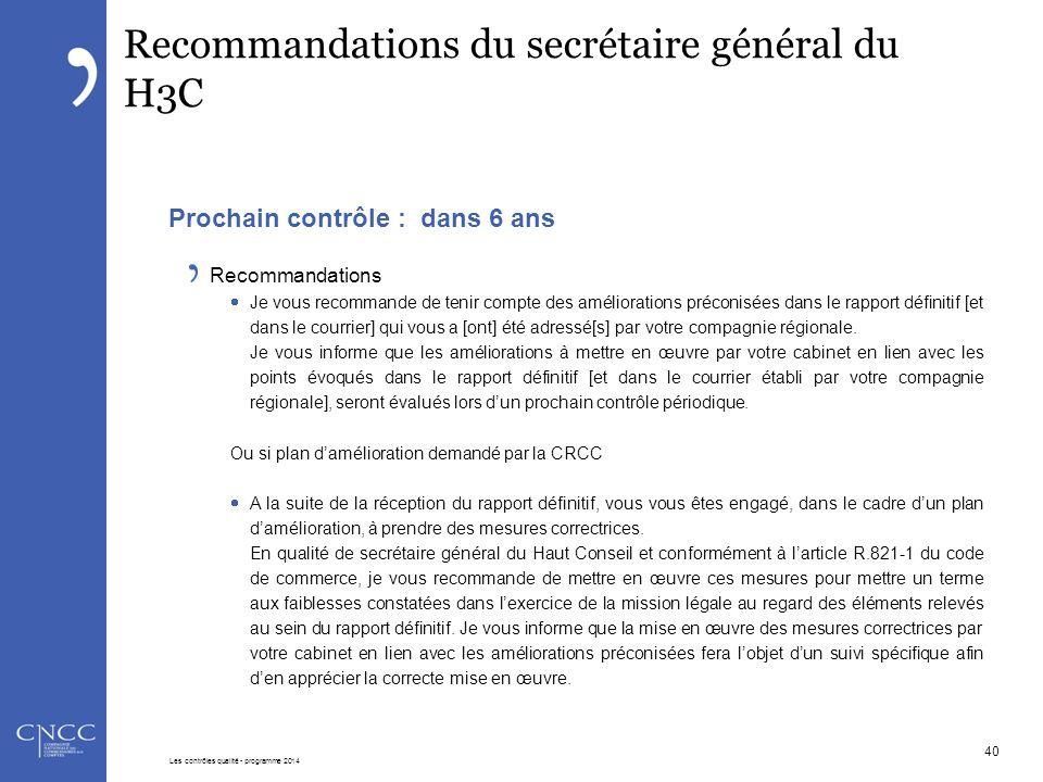 Recommandations du secrétaire général du H3C Prochain contrôle : dans 6 ans Recommandations  Je vous recommande de tenir compte des améliorations pré