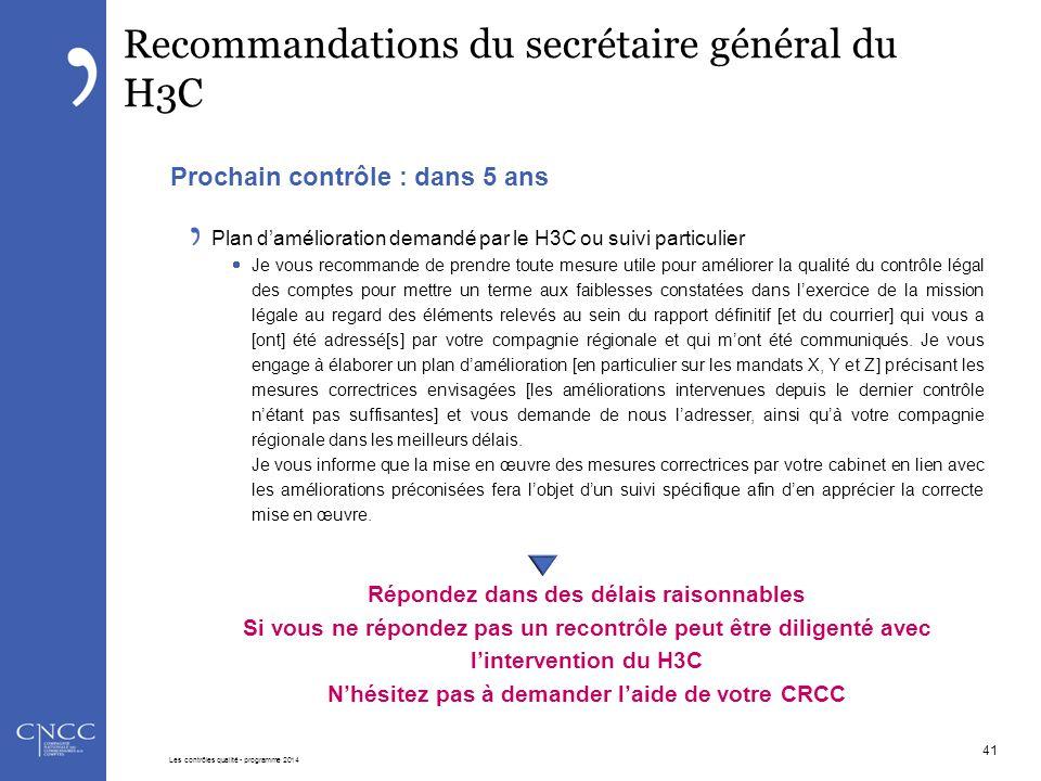Recommandations du secrétaire général du H3C Prochain contrôle : dans 5 ans Plan d'amélioration demandé par le H3C ou suivi particulier  Je vous reco