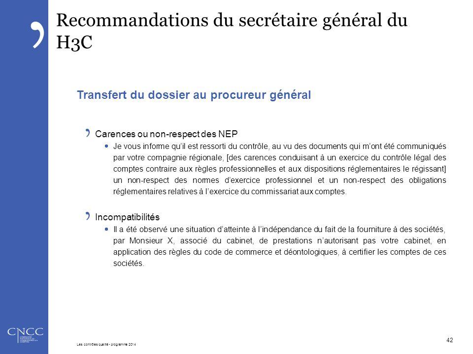 Recommandations du secrétaire général du H3C Transfert du dossier au procureur général Carences ou non-respect des NEP  Je vous informe qu'il est res