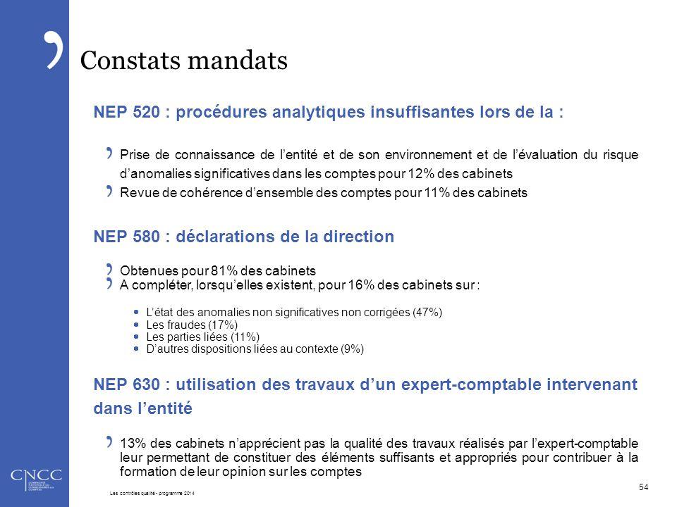 Constats mandats NEP 520 : procédures analytiques insuffisantes lors de la : Prise de connaissance de l'entité et de son environnement et de l'évaluat
