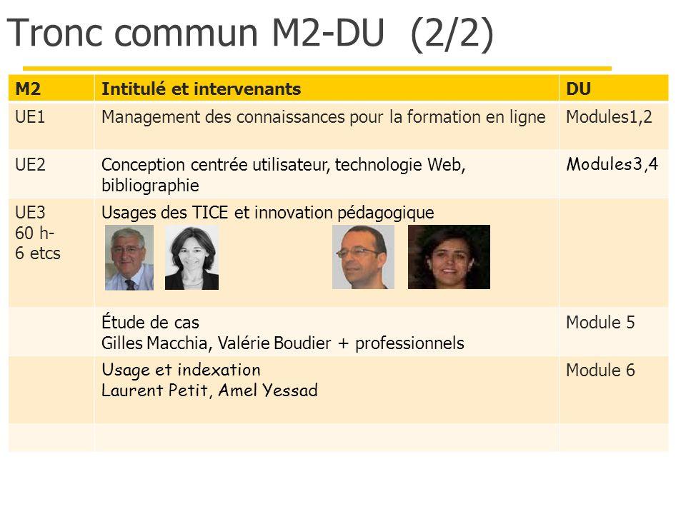 Tronc commun M2-DU (2/2) M2Intitulé et intervenantsDU UE1Management des connaissances pour la formation en ligneModules1,2 UE2Conception centrée utili