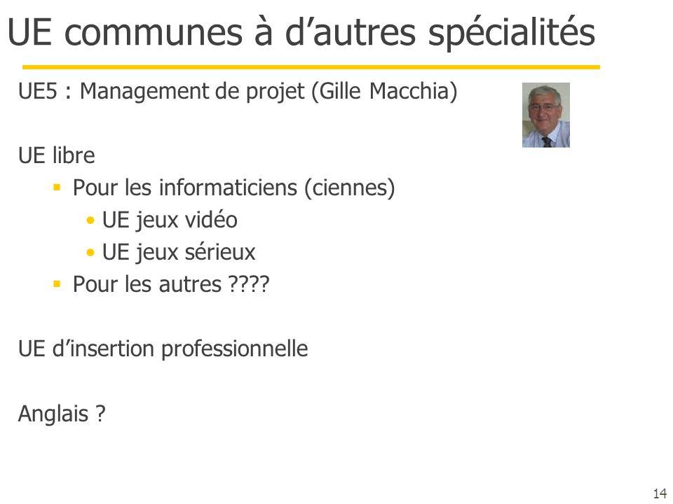 UE communes à d'autres spécialités UE5 : Management de projet (Gille Macchia) UE libre  Pour les informaticiens (ciennes) UE jeux vidéo UE jeux série