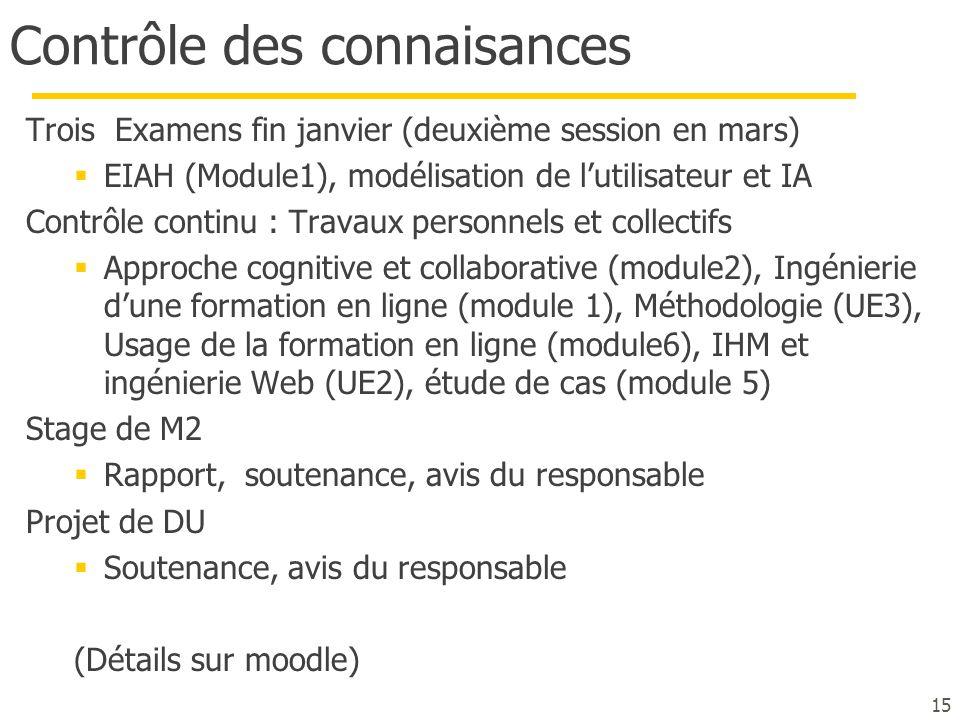 Contrôle des connaisances Trois Examens fin janvier (deuxième session en mars)  EIAH (Module1), modélisation de l'utilisateur et IA Contrôle continu
