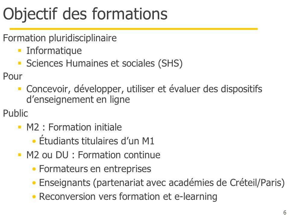 6 Objectif des formations Formation pluridisciplinaire  Informatique  Sciences Humaines et sociales (SHS) Pour  Concevoir, développer, utiliser et