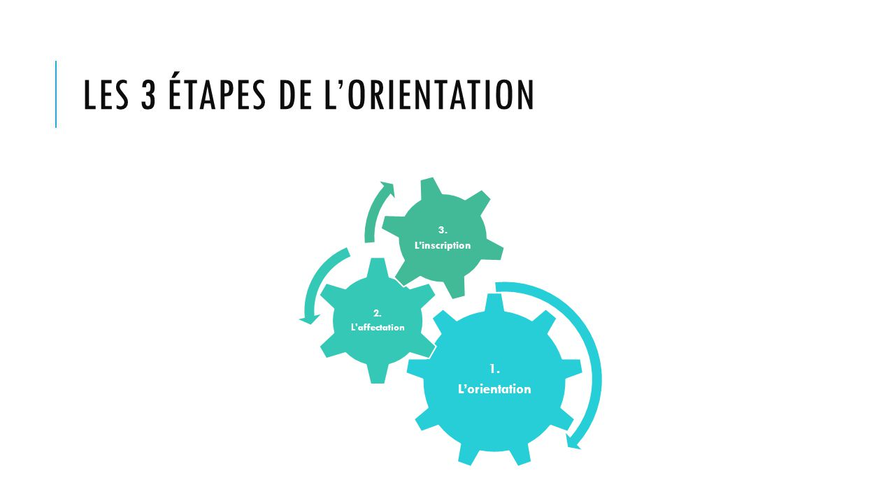 LES 3 ÉTAPES DE L'ORIENTATION 1. L'orientation 2. L'affectation 3. L'inscription
