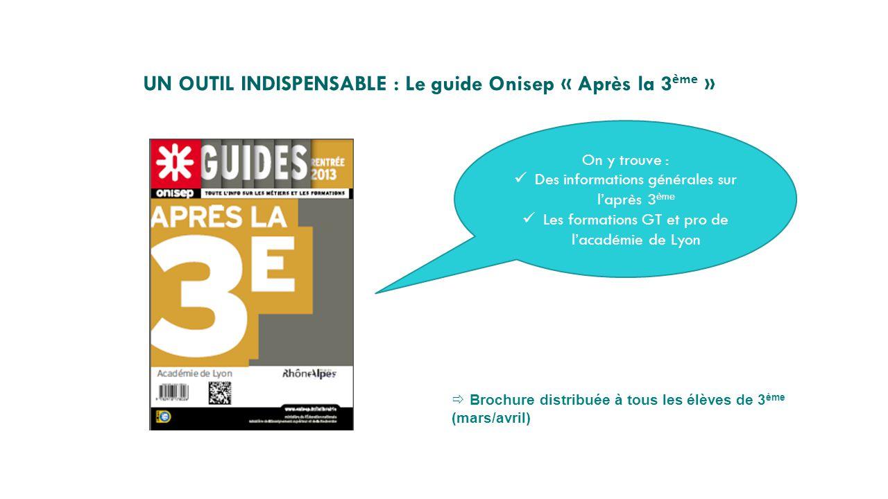 UN OUTIL INDISPENSABLE : Le guide Onisep « Après la 3 ème »  Brochure distribuée à tous les élèves de 3 ème (mars/avril) On y trouve : Des informatio