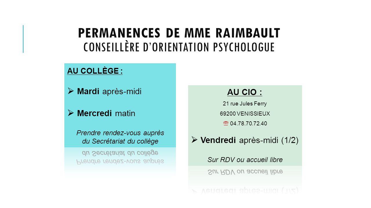 PERMANENCES DE MME RAIMBAULT CONSEILLÈRE D'ORIENTATION PSYCHOLOGUE