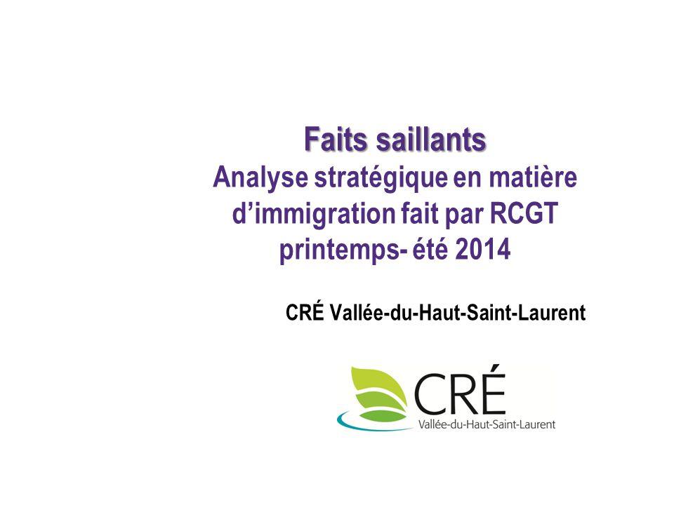 CRÉ Vallée-du-Haut-Saint-Laurent Faits saillants Faits saillants Analyse stratégique en matière d'immigration fait par RCGT printemps- été 2014