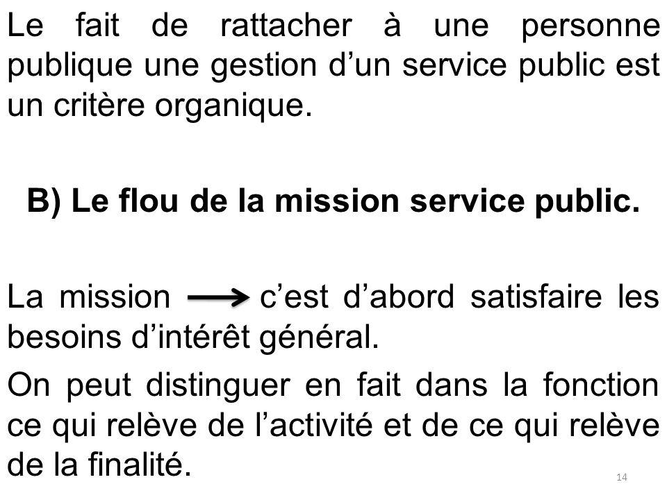Le fait de rattacher à une personne publique une gestion d'un service public est un critère organique. B) Le flou de la mission service public. La mis
