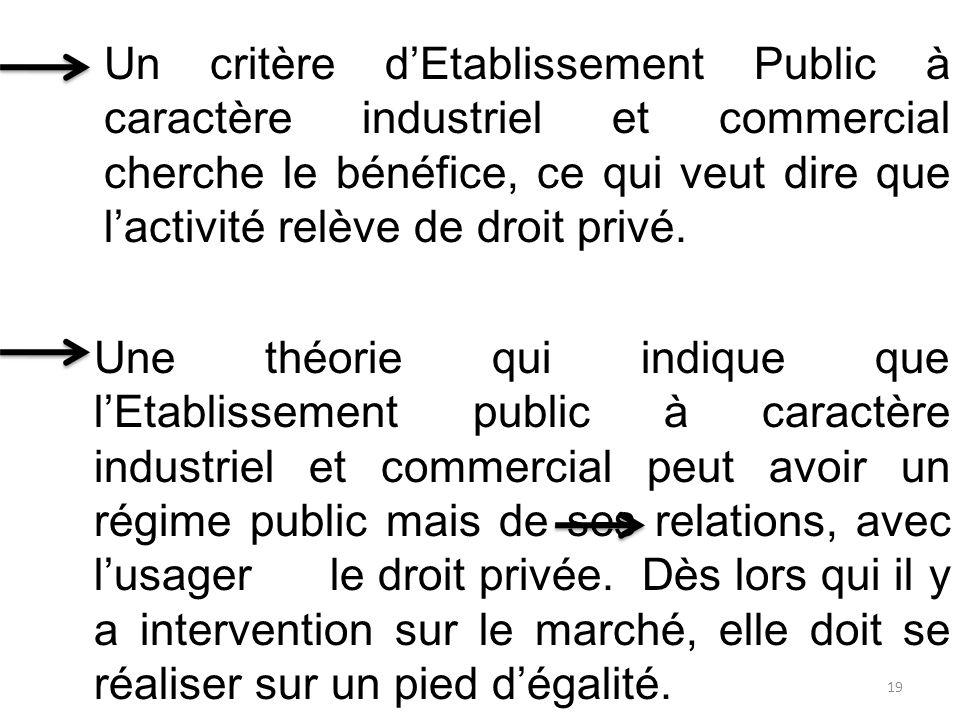 Un critère d'Etablissement Public à caractère industriel et commercial cherche le bénéfice, ce qui veut dire que l'activité relève de droit privé. Une