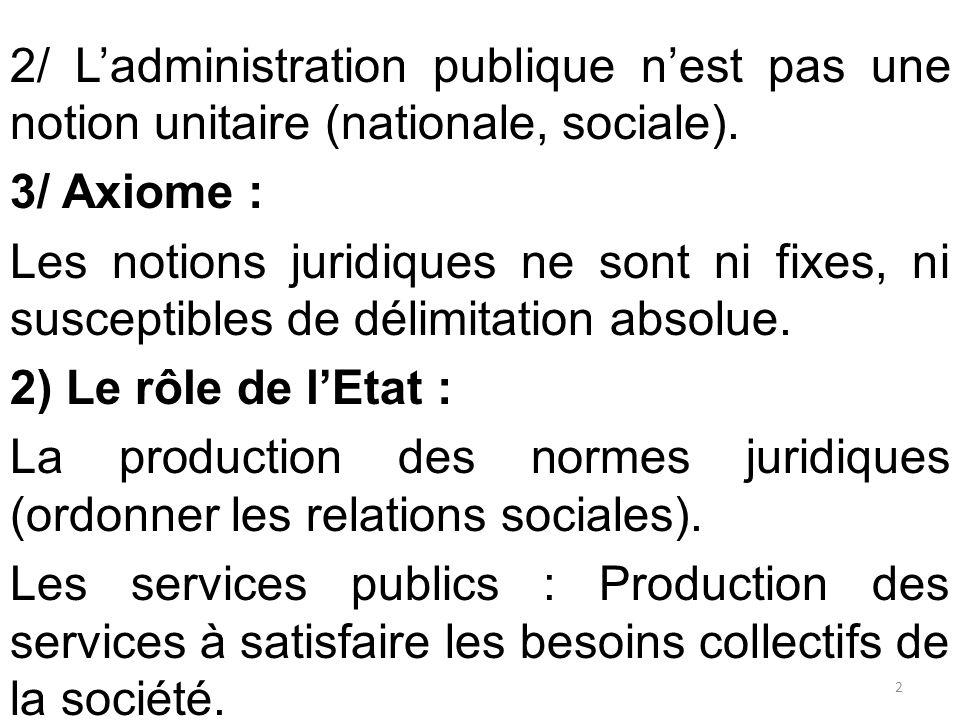 2/ L'administration publique n'est pas une notion unitaire (nationale, sociale). 3/ Axiome : Les notions juridiques ne sont ni fixes, ni susceptibles