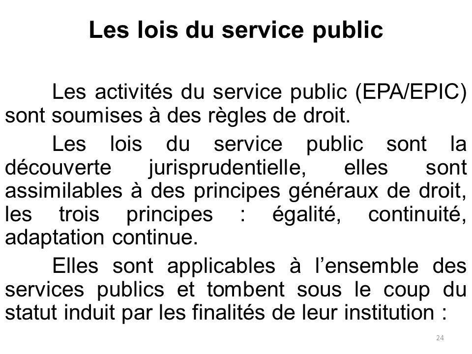 Les lois du service public Les activités du service public (EPA/EPIC) sont soumises à des règles de droit. Les lois du service public sont la découver