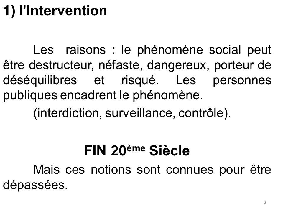 1)l'Intervention Les raisons : le phénomène social peut être destructeur, néfaste, dangereux, porteur de déséquilibres et risqué. Les personnes publiq