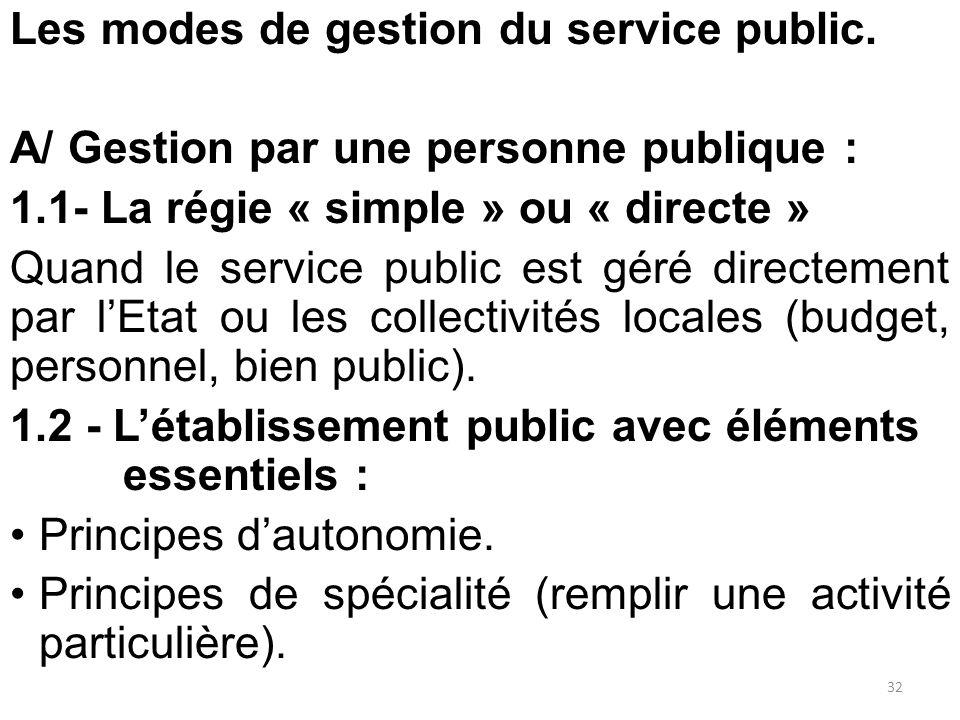 Les modes de gestion du service public. A/ Gestion par une personne publique : 1.1- La régie « simple » ou « directe » Quand le service public est gér