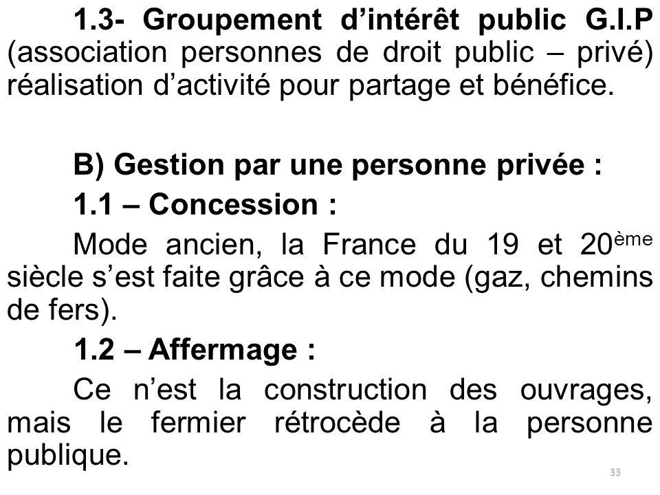 1.3- Groupement d'intérêt public G.I.P (association personnes de droit public – privé) réalisation d'activité pour partage et bénéfice. B) Gestion par