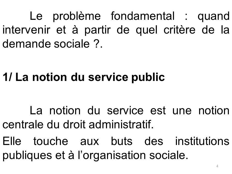 Le problème fondamental : quand intervenir et à partir de quel critère de la demande sociale ?. 1/ La notion du service public La notion du service es
