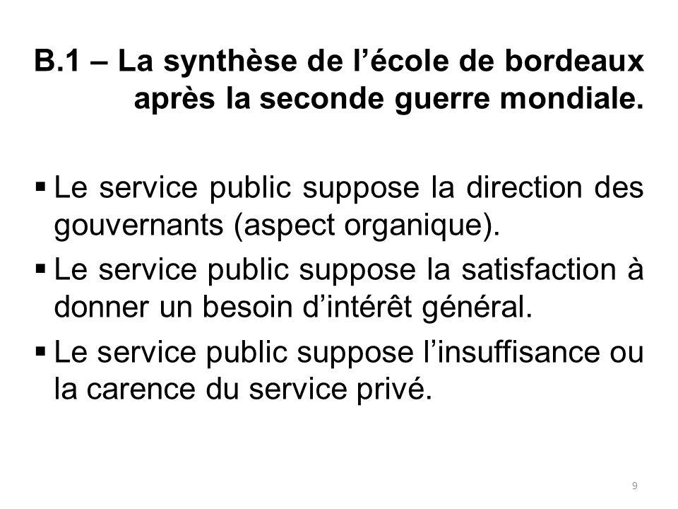 B.2 – Conséquence de l'identification du service public.