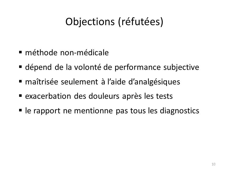 Objections (réfutées) 10  méthode non-médicale  dépend de la volonté de performance subjective  maîtrisée seulement à l'aide d'analgésiques  exacerbation des douleurs après les tests  le rapport ne mentionne pas tous les diagnostics