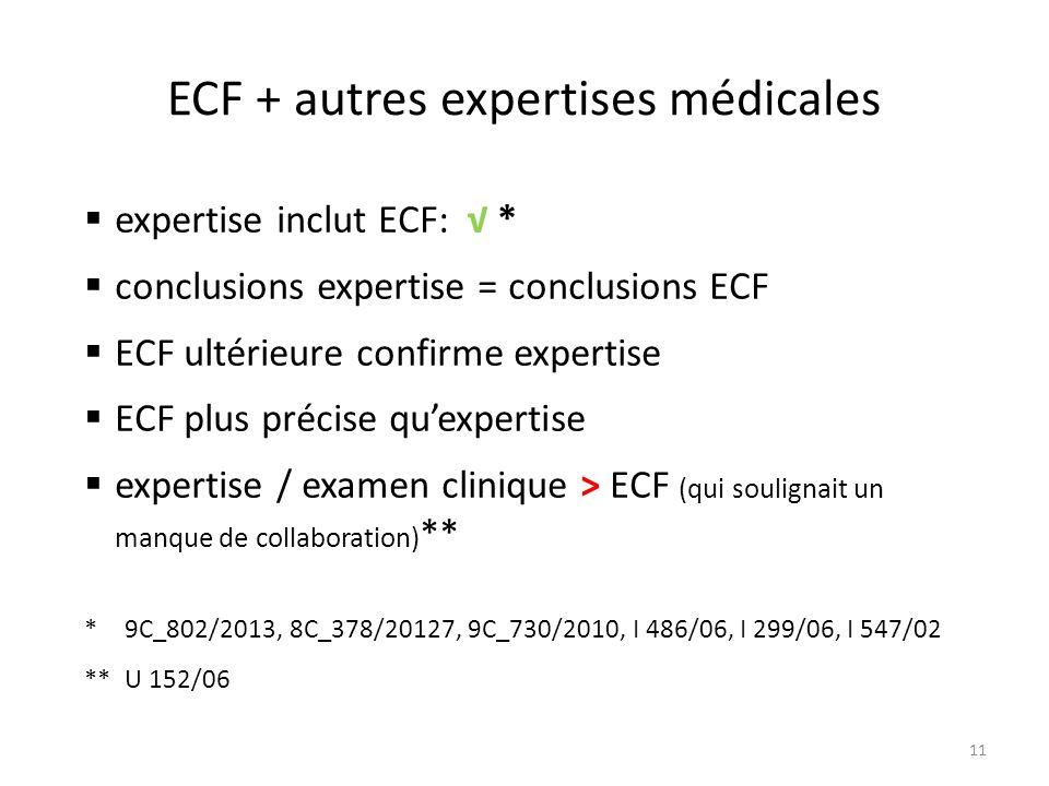 ECF + autres expertises médicales 11  expertise inclut ECF: √ *  conclusions expertise = conclusions ECF  ECF ultérieure confirme expertise  ECF plus précise qu'expertise  expertise / examen clinique > ECF (qui soulignait un manque de collaboration) ** *9C_802/2013, 8C_378/20127, 9C_730/2010, I 486/06, I 299/06, I 547/02 **U 152/06