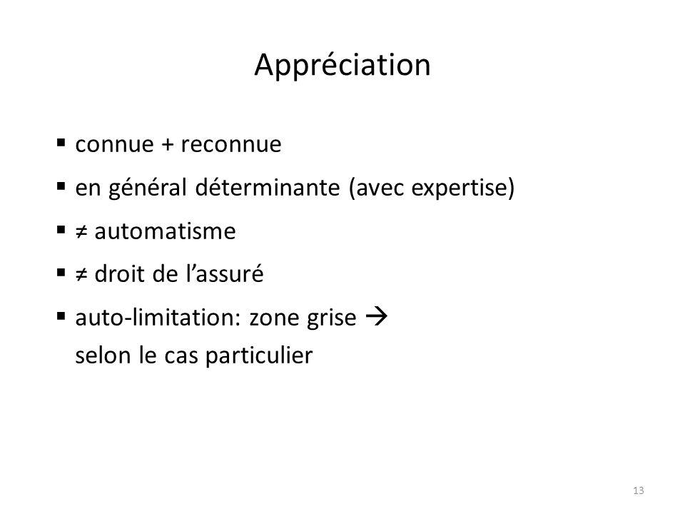 Appréciation 13  connue + reconnue  en général déterminante (avec expertise)  ≠ automatisme  ≠ droit de l'assuré  auto-limitation: zone grise  selon le cas particulier