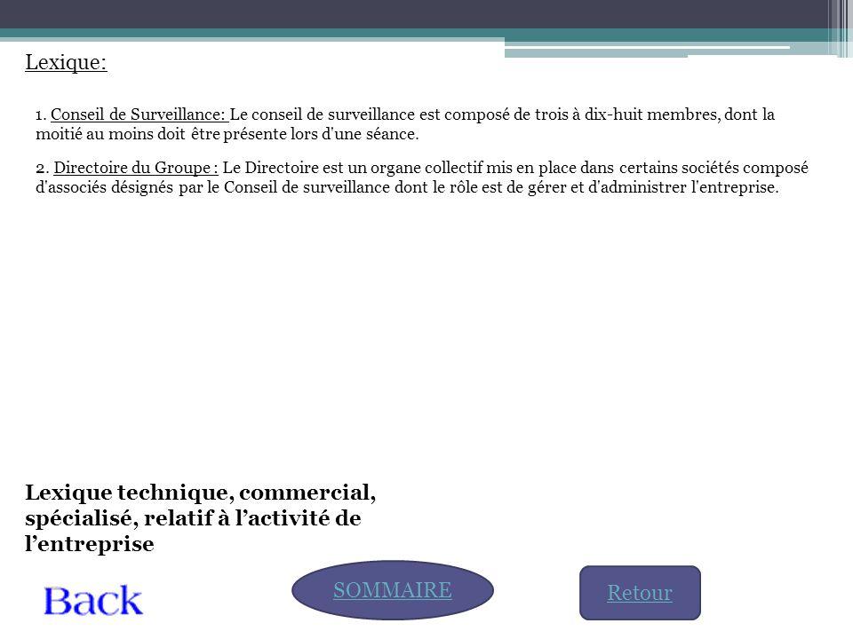 Lexique: SOMMAIRE Lexique technique, commercial, spécialisé, relatif à l'activité de l'entreprise 1. Conseil de Surveillance: Le conseil de surveillan