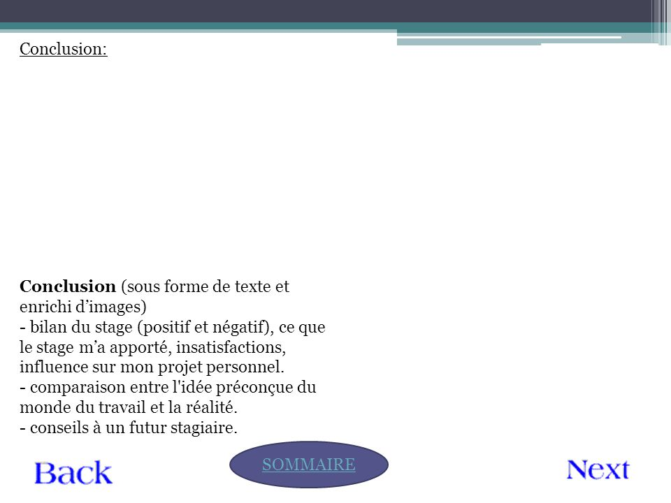 Conclusion: SOMMAIRE Conclusion (sous forme de texte et enrichi d'images) - bilan du stage (positif et négatif), ce que le stage m'a apporté, insatisf