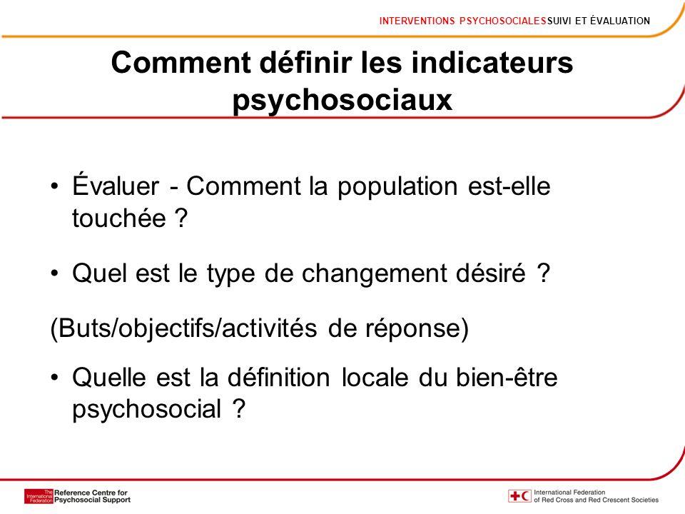 INTERVENTIONS PSYCHOSOCIALESSUIVI ET ÉVALUATION Comment définir les indicateurs psychosociaux Évaluer - Comment la population est-elle touchée ? Quel