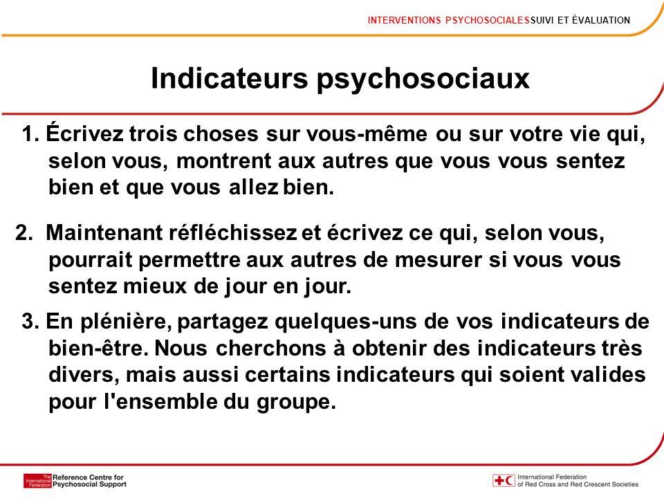 INTERVENTIONS PSYCHOSOCIALESSUIVI ET ÉVALUATION Indicateurs psychosociaux 1. Écrivez trois choses sur vous-même ou sur votre vie qui, selon vous, mont