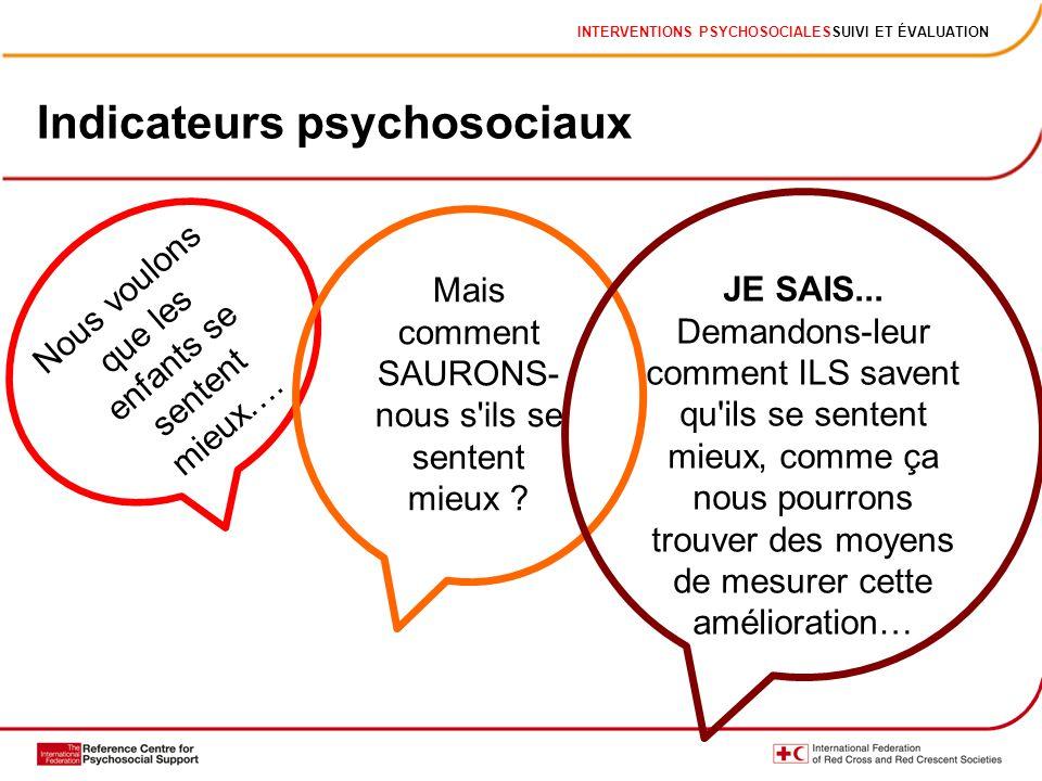 INTERVENTIONS PSYCHOSOCIALESSUIVI ET ÉVALUATION Indicateurs psychosociaux Nous voulons que les enfants se sentent mieux…. Mais comment SAURONS- nous s