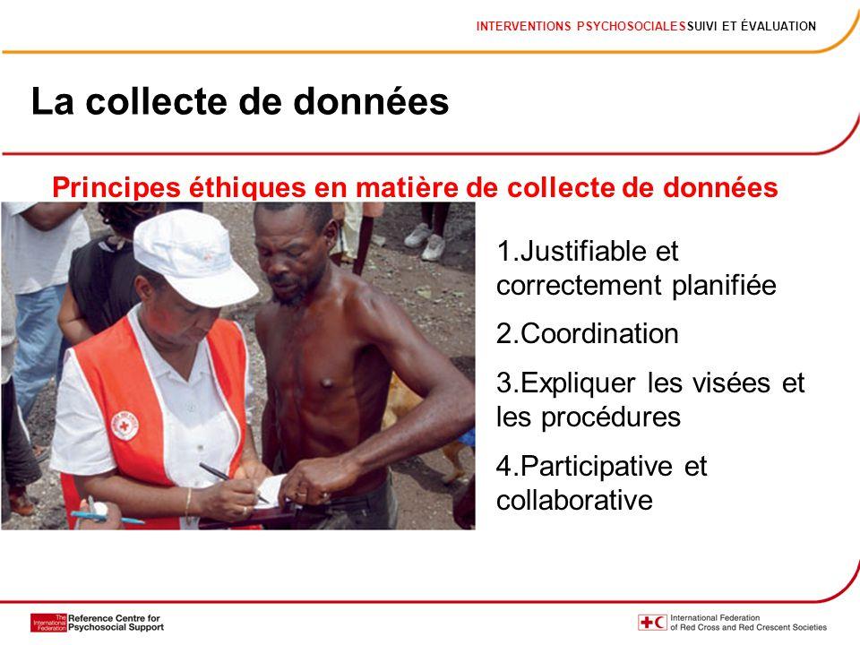 La collecte de données 1.Justifiable et correctement planifiée 2.Coordination 3.Expliquer les visées et les procédures 4.Participative et collaborative Principes éthiques en matière de collecte de données