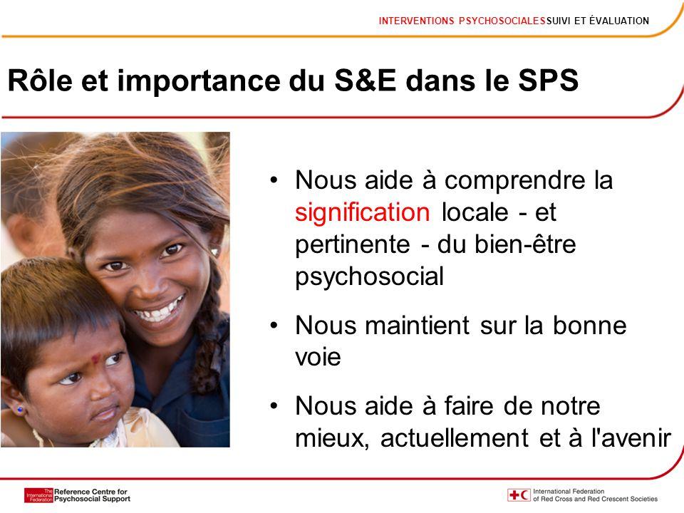 INTERVENTIONS PSYCHOSOCIALESSUIVI ET ÉVALUATION Rôle et importance du S&E dans le SPS Nous aide à comprendre la signification locale - et pertinente -