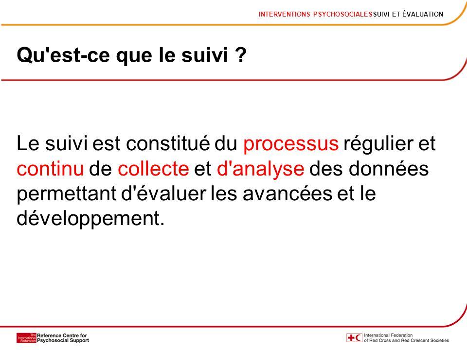INTERVENTIONS PSYCHOSOCIALESSUIVI ET ÉVALUATION Le suivi est constitué du processus régulier et continu de collecte et d analyse des données permettant d évaluer les avancées et le développement.