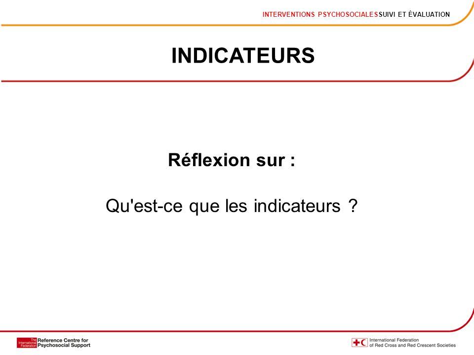INTERVENTIONS PSYCHOSOCIALESSUIVI ET ÉVALUATION INDICATEURS Réflexion sur : Qu'est-ce que les indicateurs ?
