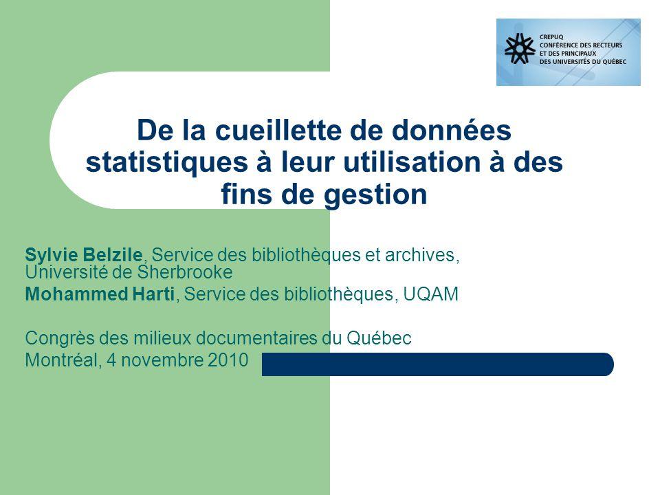 Sommaire Sous-comité des bibliothèques de la CREPUQ Groupe de travail IPAD Programme de statistiques Les nouveaux indicateurs Enquête LibQual+ en consortium Présentation de la nouvelle base de données interactive
