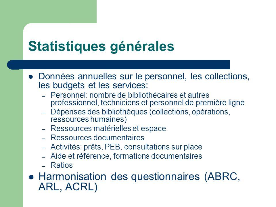 Conclusion Importance de l'évaluation des services et le partage des meilleures pratiques Les statistiques doivent évoluer afin de refléter et de mesurer l'impact des nouvelles activités et des nouveaux formats de collections La coopération au niveau international est indispensable afin de développer les nouveaux indicateurs de performance