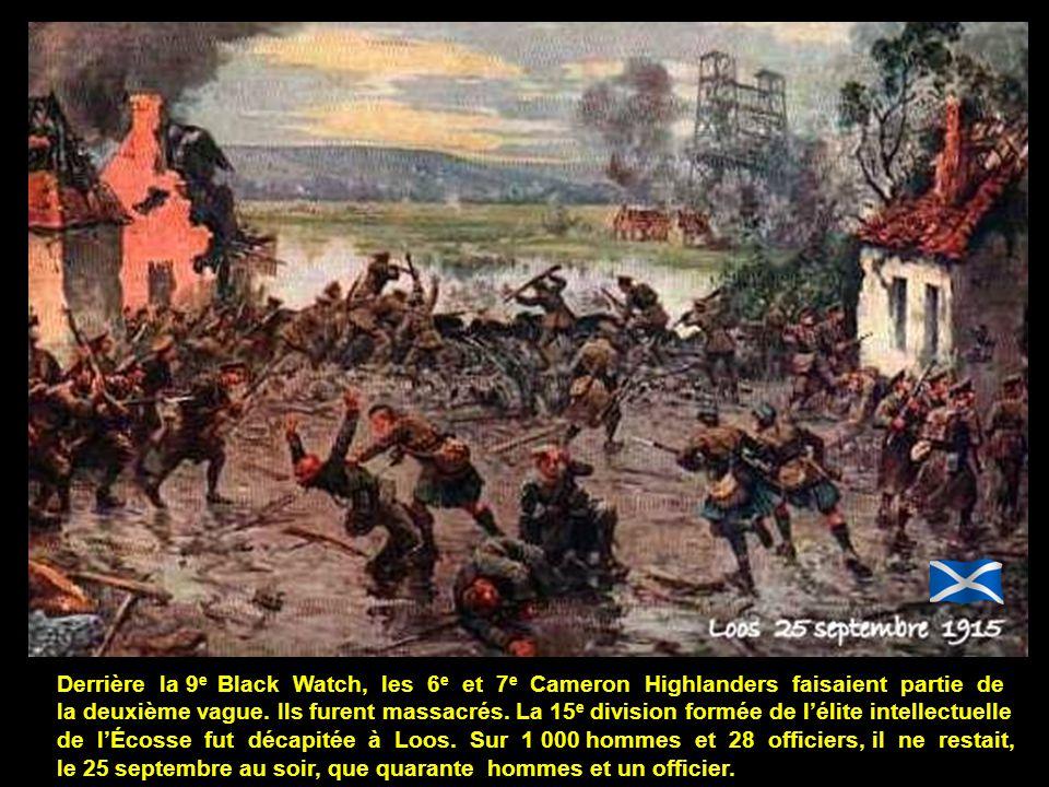 Le 9 e bataillon de Black Watch prit la première ligne allemande (Jews Nose Trench) en cinq minutes après un épouvantable corps à corps. Leur secteur