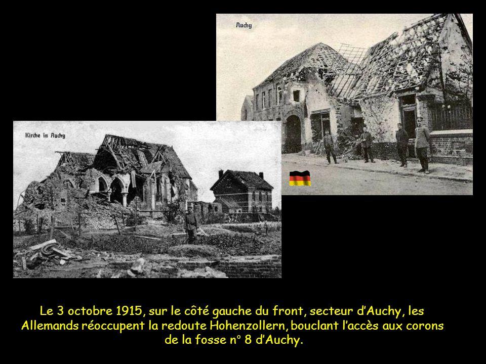 Secteur redoute Hohenzollern et fosse n°8 d'Auchy La redoute tombe,la fosse 8 également, ils arrivent à percer le front sur un kilomètre en profondeur
