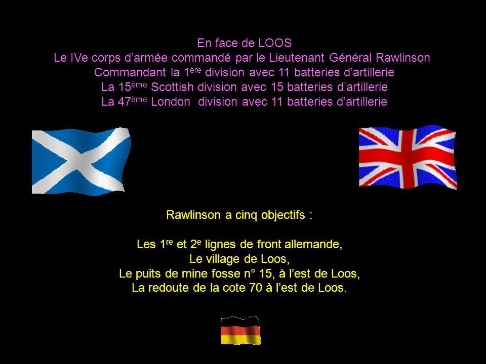 Les Britanniques alignent 7 divisions du sud de Laventie aux faubourgs nord de Lens 19 ème et 2 ème division secteur Givenchy Auchy 9 ème et 7 ème – d