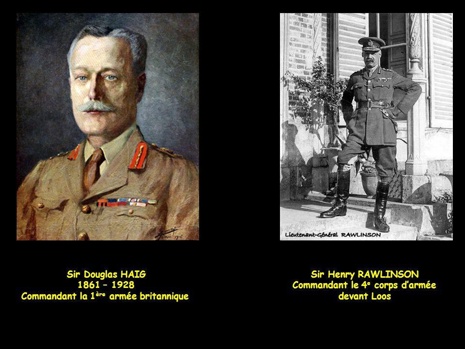 Rawlinson a cinq objectifs : Les 1 re et 2 e lignes de front allemande, Le village de Loos, Le puits de mine fosse n° 15, à l'est de Loos, La redoute
