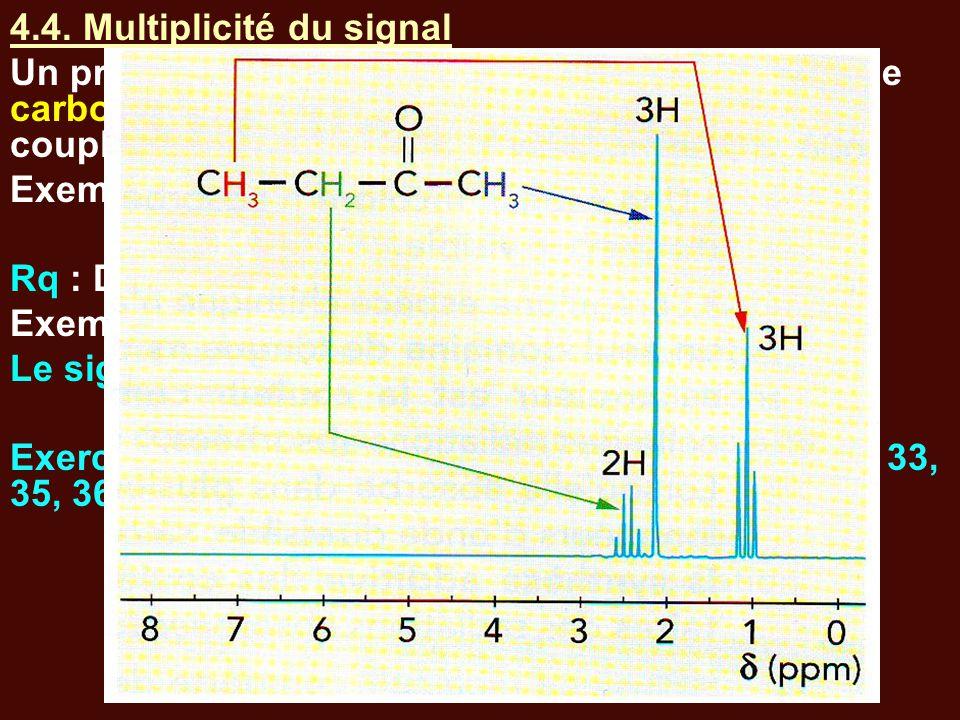 4.4. Multiplicité du signal Un proton ayant n protons portés par un atome de carbone voisin interagissent et donnent par couplage un signal constitué