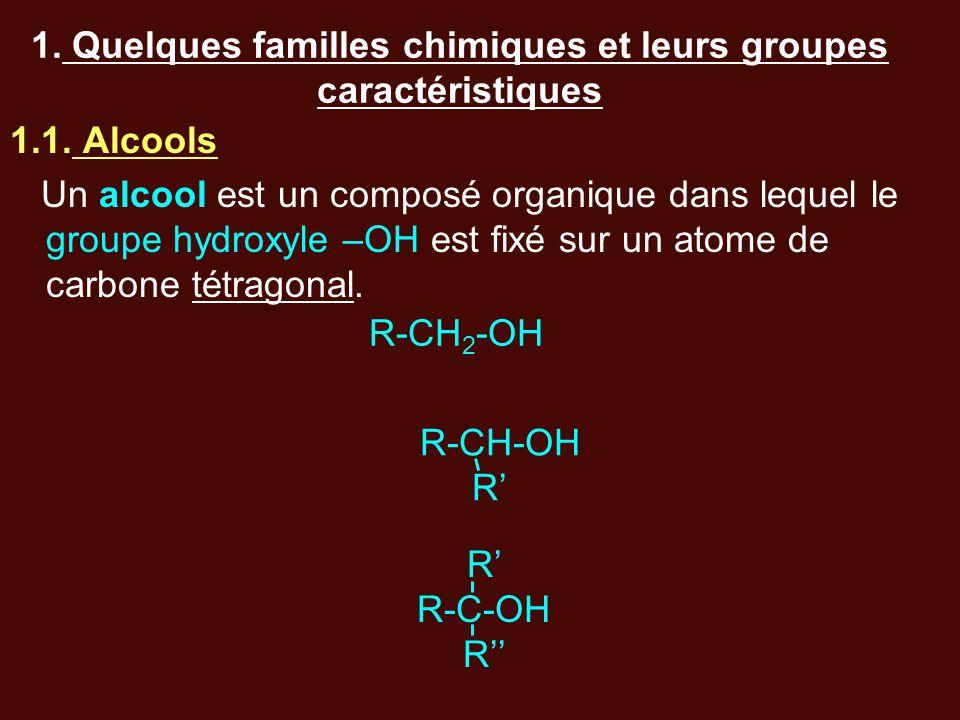 1. Quelques familles chimiques et leurs groupes caractéristiques 1.1. Alcools Un alcool est un composé organique dans lequel le groupe hydroxyle –OH e