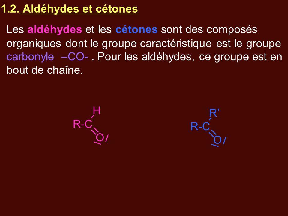 1.2. Aldéhydes et cétones Les aldéhydes et les cétones sont des composés organiques dont le groupe caractéristique est le groupe carbonyle –CO-. Pour